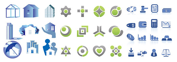 3 sets of simple graphical icons vector