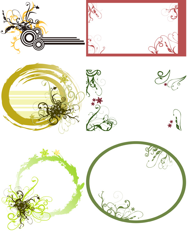 flow of ink Border Floral vector
