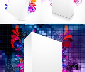 Three-dimensional box flower background 2 Vector