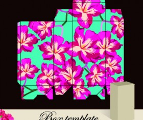 Floral Box template vector 02