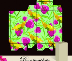 Floral Box template vector 04