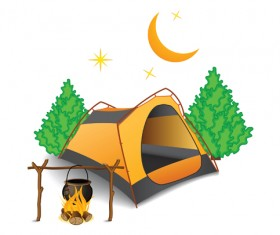 Set of Camping design elements vector 11