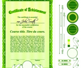 Diploma Certificate Template and ornaments vector 01