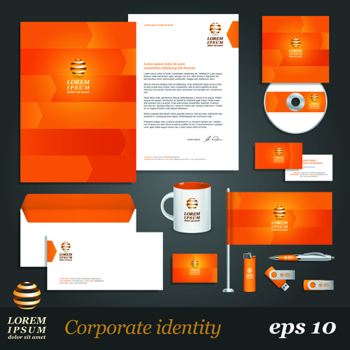 corporate identity kit vector templates 01 - vector business, Powerpoint templates