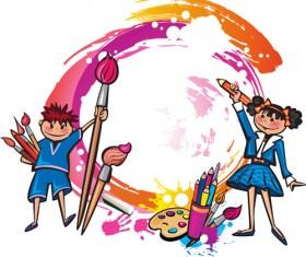 Cute Kids design vector 02