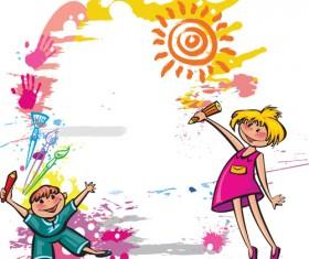 Cute Kids design vector 03