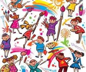 Cute Kids design vector 04