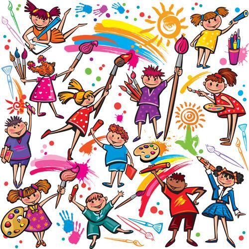 Cute Kids Design Vector 04 Vector People Free Download