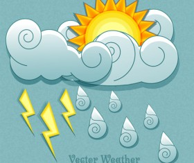 Cute Weather elements vector 02