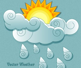 Cute Weather elements vector 03