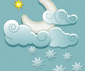 Cute Weather elements vector 04