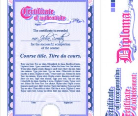 Diploma Certificate design elements vector set 02