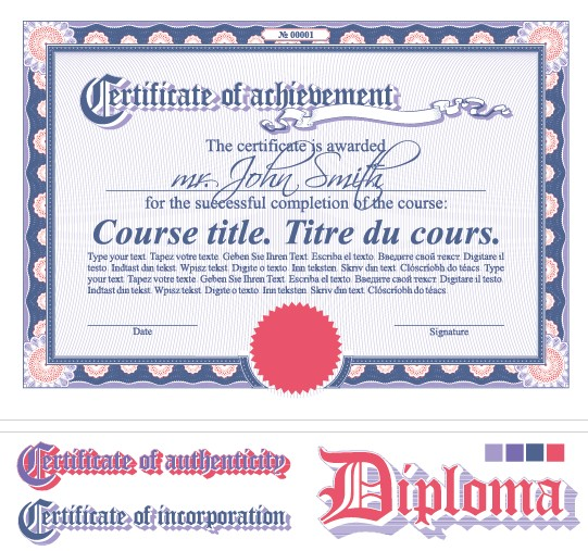 Diploma certificate design elements vector set 05 free Associates degree in fashion design online