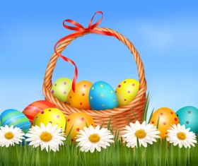 Easter Eggs and Basket vector 01