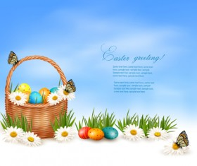 Easter Eggs and Basket vector 02