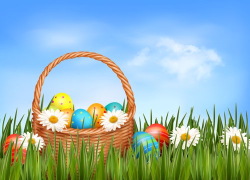 Easter Eggs and Basket vector 03