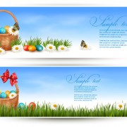 Link toEaster eggs and basket vector 04