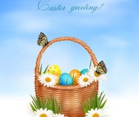 Easter Eggs and Basket vector 05