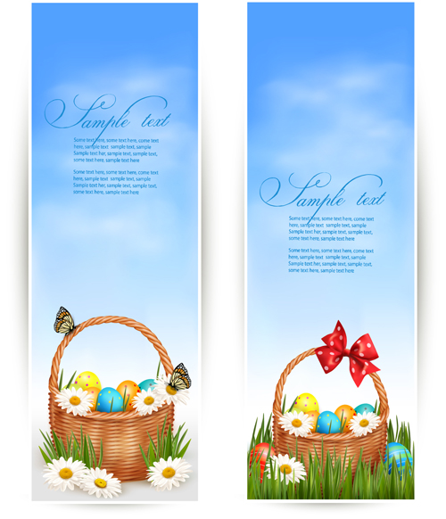 Easter Eggs and Basket vector 06