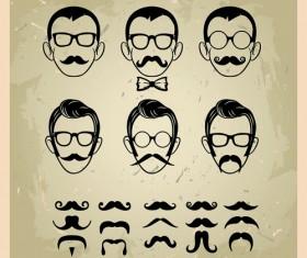 Man's Faces design vector 02