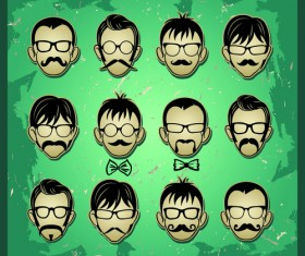 Man's Faces design vector 03