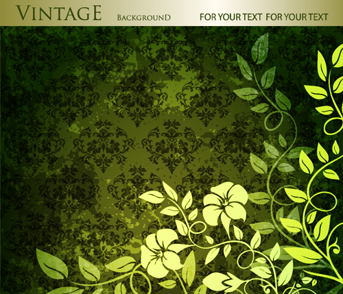 Floral With Vintage Backgrounds Vector 02