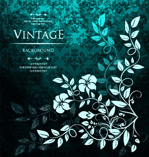 Floral with vintage backgrounds vector 04