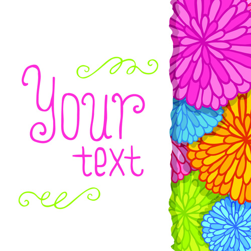 Funny Floral vector background 01