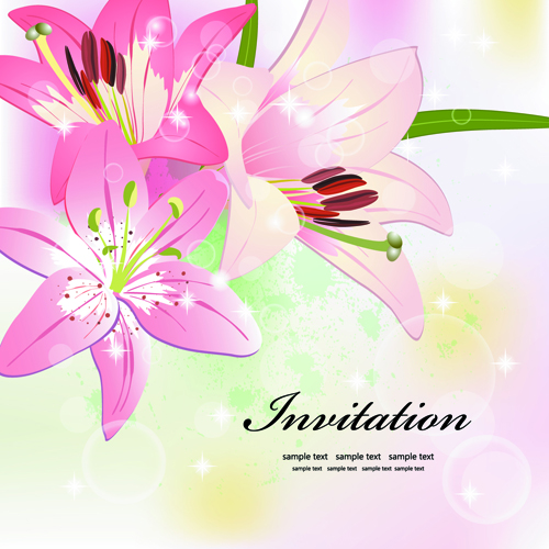Invitation cards with Flowers design vector 01 - Vector Card ...