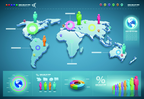 World Map with Infographic vector 02