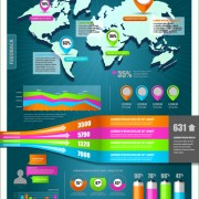 Link toWorld map with infographic vector 03