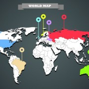 Link toWorld map with infographic vector 06