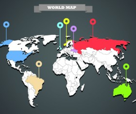 World Map with Infographic vector 06