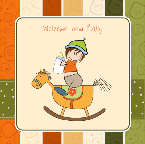 New baby Card vector 02