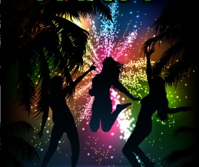 Beach Party Backgrounds vector 01