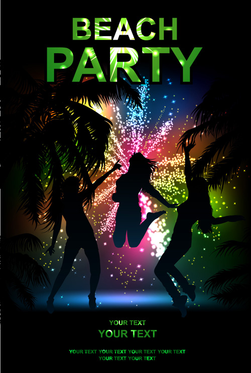 beach party backgrounds vector 01 free download