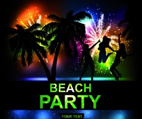 Beach Party Backgrounds vector 02
