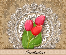 Red Flower invitations cards 03