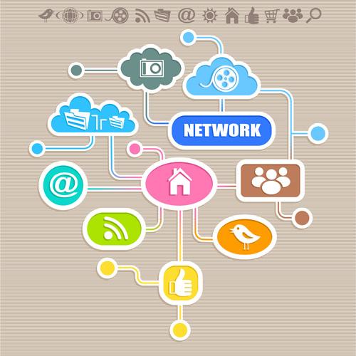 Social icons and Speech Bubbles vector 04