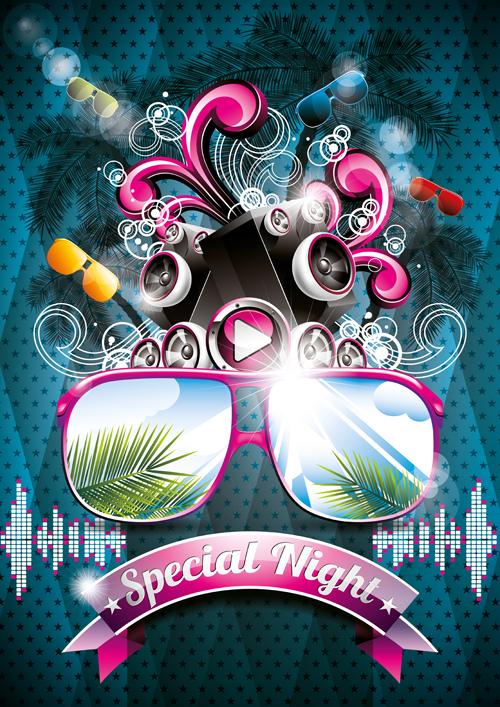Summer night party backgorund 01 - Vector Background free download