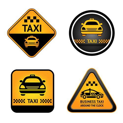 Set of Taxi labels vector 03