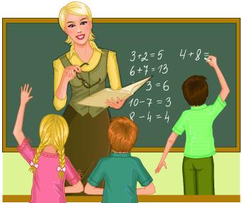 Teacher with Student vector 03