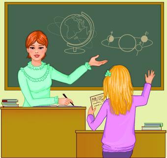 Teacher with Student vector 04