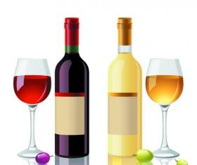 Wine Bottles and Wineglass vector set 01