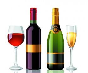 Wine Bottles and Wineglass vector set 05