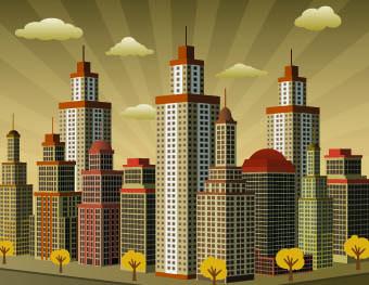 buildings with skyscrapers design vector 05