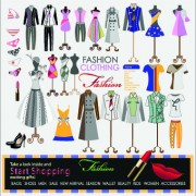 Fashion elements and clothing vector 01
