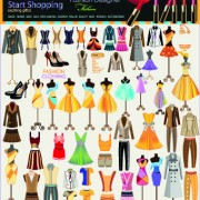 Fashion elements and clothing vector 03