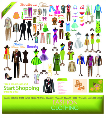 Fashion elements and clothing vector 05