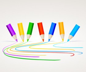 Different Colored pencil vector set 02